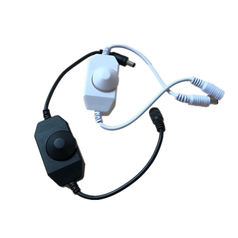 LED Dimmer Switch Brightness Adjust Controller For 3528 5050 5730 5630 Single Color Strip Light DC 12V 24V Black/White