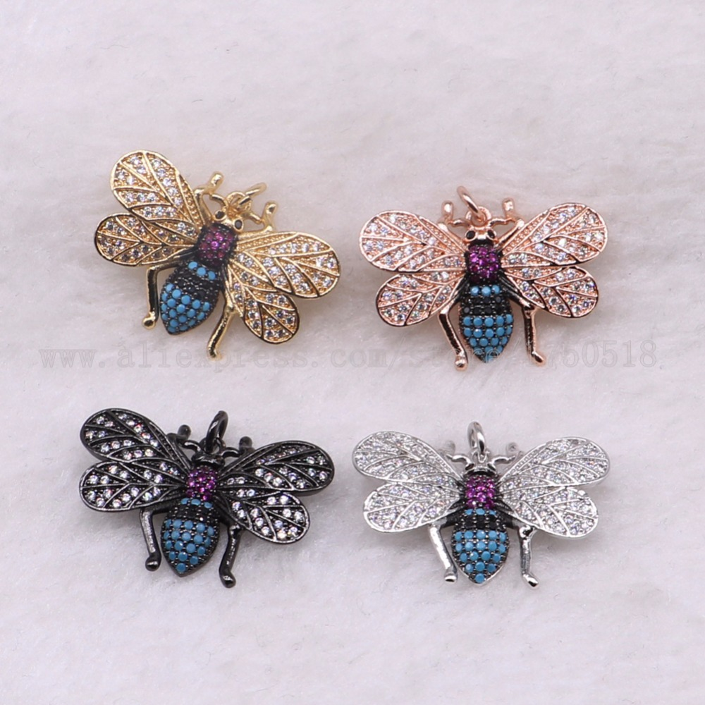 5 pieces small bugs pendants charm fly insects hexapod bee fly jewelry pendants micro paved mix color pendants pets beads 3068