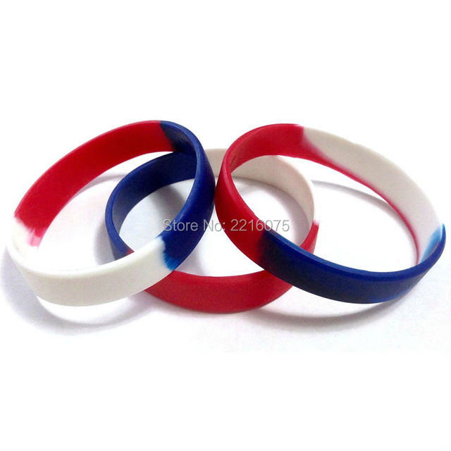 100pcs Red White Blue Segmented Silicone Wristband Rubber Bracelets Free Shipping