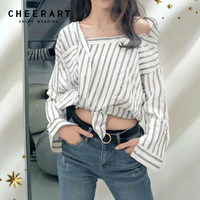 Cheerart One Shoulder Top For Women Black And White Striped Shirt Plus Size Long Sleeve Blouse Spring Summer Clothing