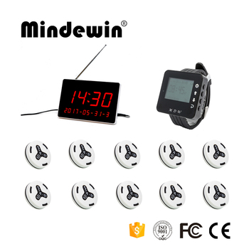 Mindewin 2017 Wireless Calling System Restaurant 10PCS M-K-3 Call Button +1PC M-W-1 Watch Pager +1PC M-R-1 Display Recei