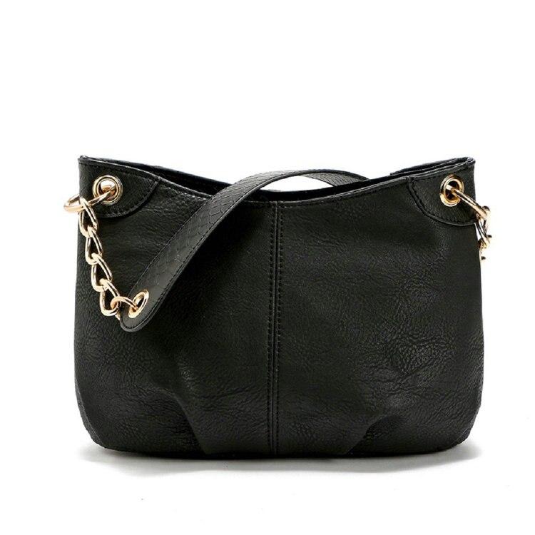 Women\'S Chain Hobos Shoulder Bag With Metal Ring Summer Simple PU Leather Tote Handbag Bolsas Femininas B127