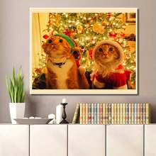 5DDiamond  Painting Cat Christmas Stickers DIY Diamond Embroidery Cross Stitch Decor for Home