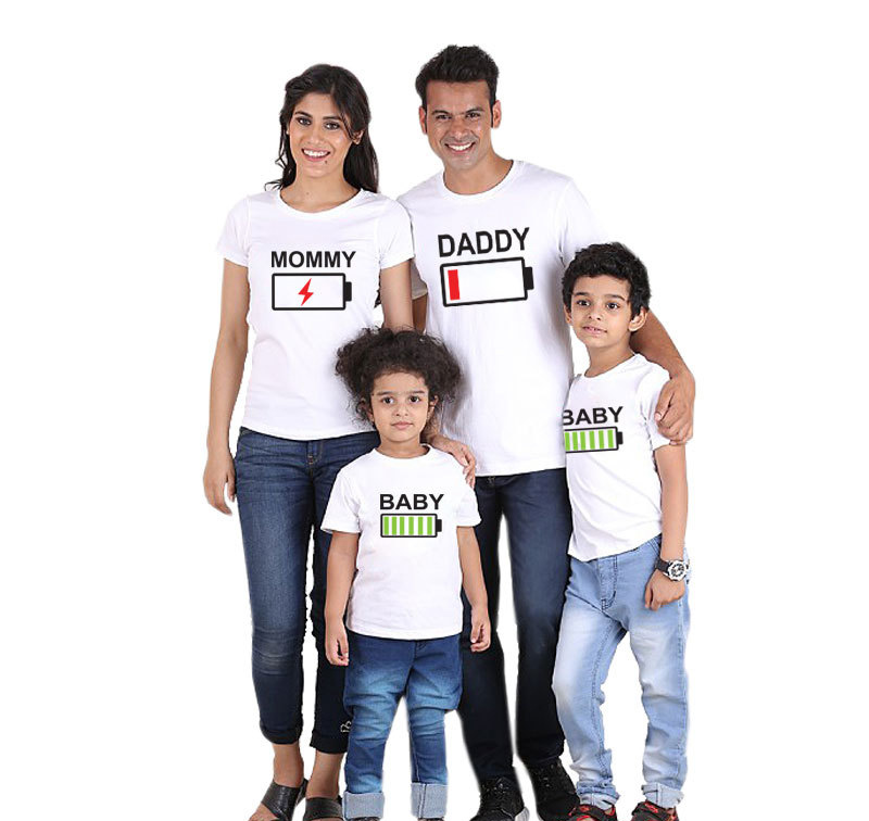 Family Matching Clothes Father Mother Son Daughter Outfits Cothing Tshirt Mom Mum Mommy Daddy and Me Baby Boy Girl Dresses/White
