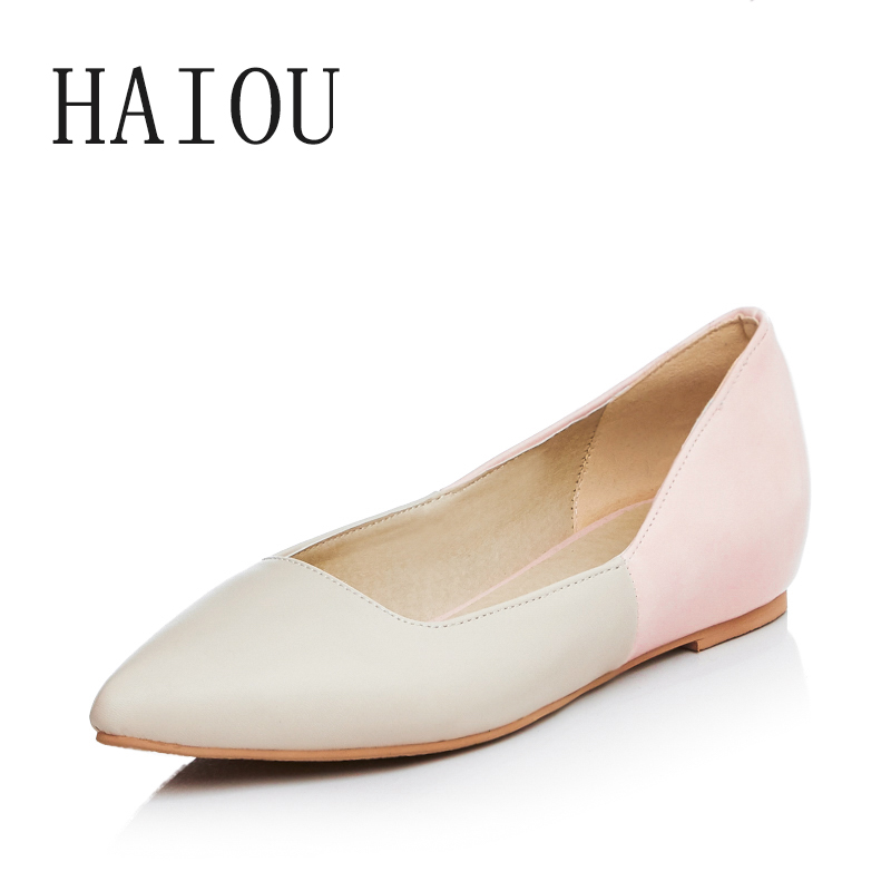 2017 Spring Summer Women Flat Shoes Office Breathable Pointed Toe Shoes White High Quality Slip on Flats Shallow Shoes Mature new hot spring summer high quality fashion trend simple classic solid pleated flats casual pointed toe women office boat shoes
