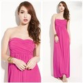 2017  New Vestidos Women Sexy Summer Strapless Chiffon Beach Dress Floor-Length Long Slim Gown Party Dresses vestido de festa