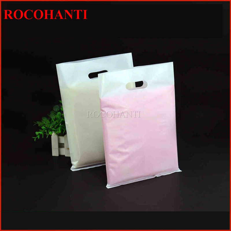 100x Custom Logo Printed Plastic Shopping Bag T-Shirt Bag Customized Die Cut Handle Retail Packaging Plastic Carrier Bags