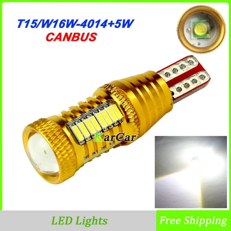 2x Canbus No Error W16W LED Rear Tail Lamp 921 Brake Light, 906 912 Clearance Light T15 Stop Bulb 4014 32SMD + 1 CREE chip White 1pcs 12v canbus 921 912 t10 t15 45 led 4014 smd 45smd no polarity t16 bulb light parking backup signl lamp auto no error