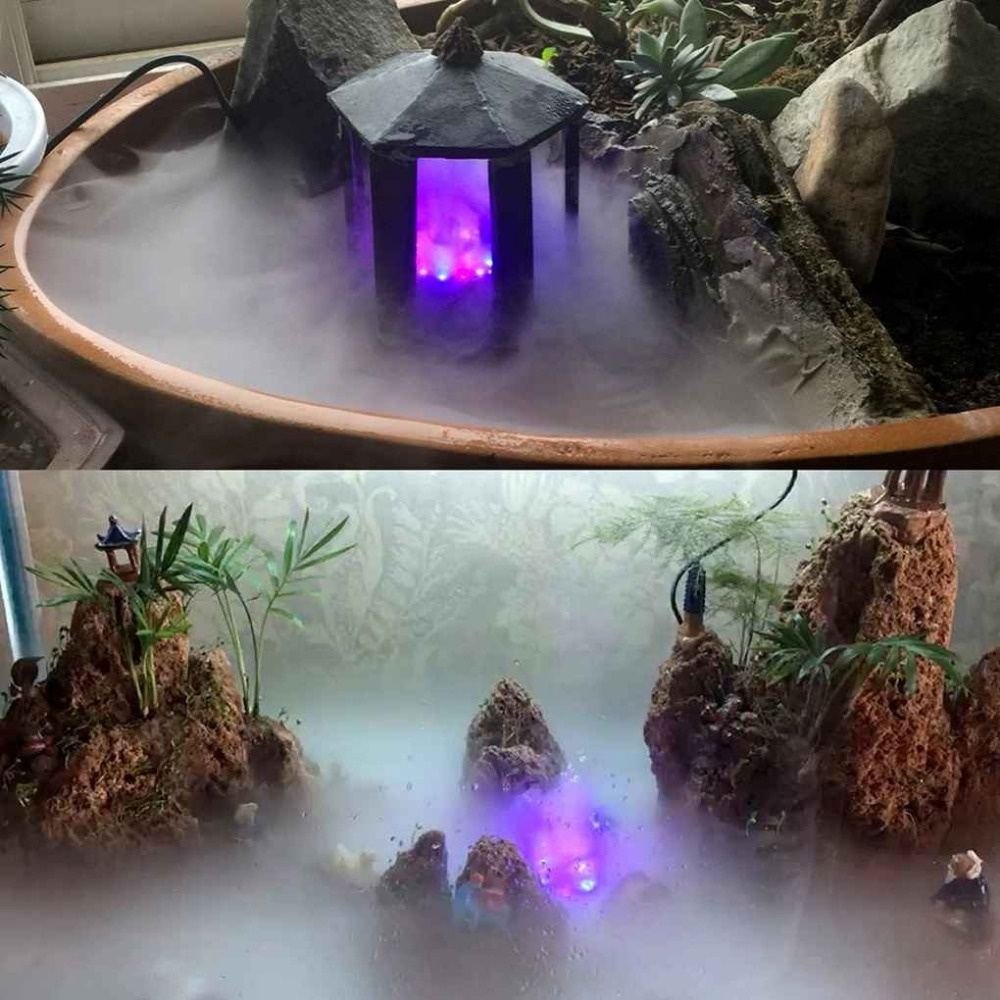 Sprayers Silver Quiet Water Shortage Protection 12 LED Mist Maker Fogger Fountain Pond Fog Atomizer Air Humidifier Aquarium