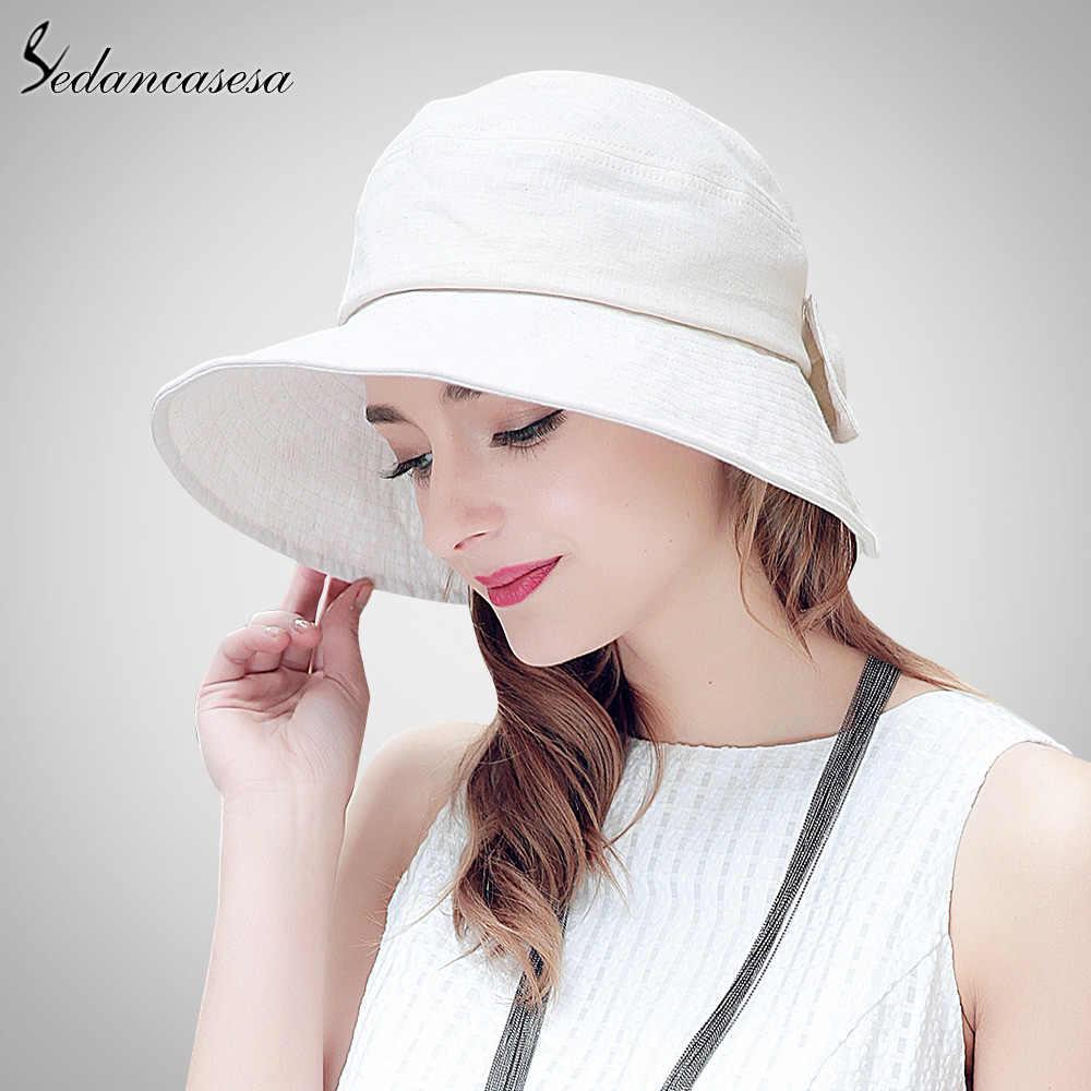 Sedancases letnie kapelusze przeciwsłoneczne dla kobiet szerokie rondo kapelusz słońce moda bawełniana pościel kapelusz czapka plażowa z Bowknot Sombreros Mujer Verano