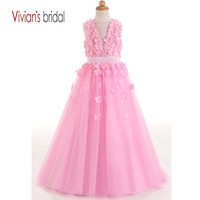 Pink Tulle Ball Gown With Flowers Little Girls Pageant Dresses Kid Toddler Communion Dress For Wedding