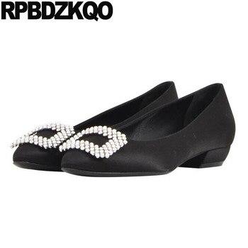 2018 low heels round toe wine red crystal bridal size 4 34 green satin wedding black block ladies shoes rhinestone diamond china