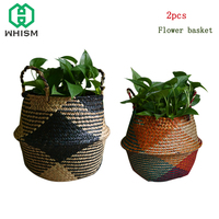 WHISM 2PCS Folding Rattan Storage Basket Wall Hanging Seagrass Flower Baskets Wicker Basket Toy Storage Organizer Laundry Basket