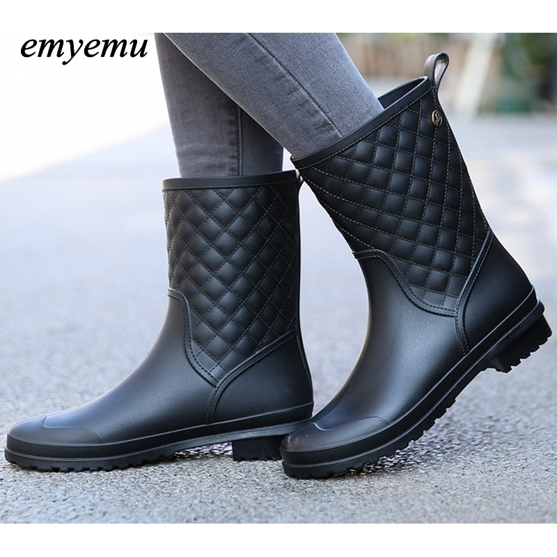 Spring Autumn Women rainboots New Fashion Rain Ankle 3color Rubber Boots Shoes Waterproof rian boots 2016 fashion waterproof high style women hunting rain boots women water shoes winter rainboots