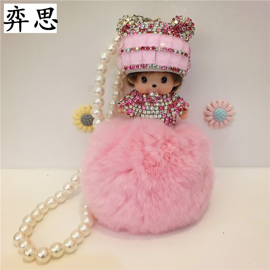 Seven colored diamond Kiki doll styling car decorative pendant Ladies car rearview miror Ornament Soft and comfortable hair ball
