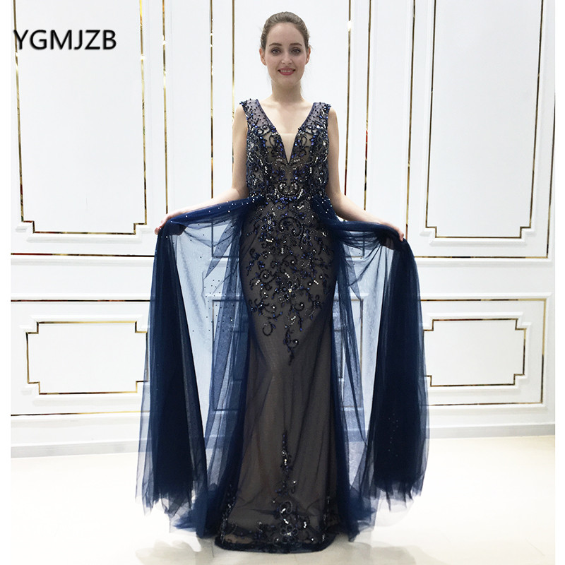 Luxury   Evening     Dresses   Long 2019 Mermaid V Neck Crystal Beaded Sexy Backless Navy Women Formal Party   Evening   Gown Robe De Soiree