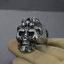 Wish explosions jewelry trade jewelry titanium steel skull ring stainless steel evil king ring r006 7 skull shaped stylish titanium steel ring silver us size 6