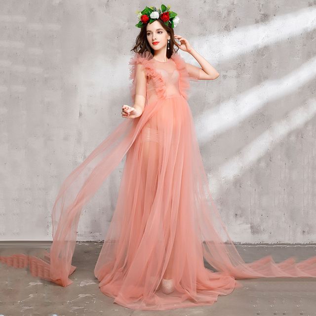 2786b8d940e1 2019 New Style Maternity Photography Props Maternity Flower Dress  Sleeveless Voile Summer Pregnant Dress Lace Princess Dresses