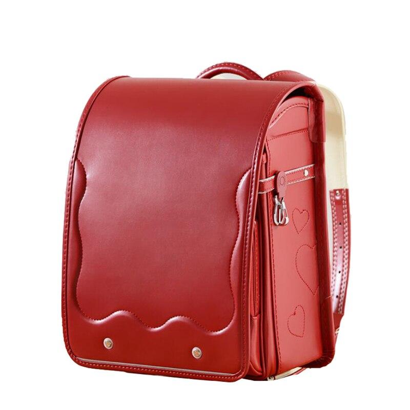 2019 nouveau design fille sac à dos pour enfants sac d'école japonais PU moraillon solide haute qualité enfant Randoseru sacs à dos orthopédiques
