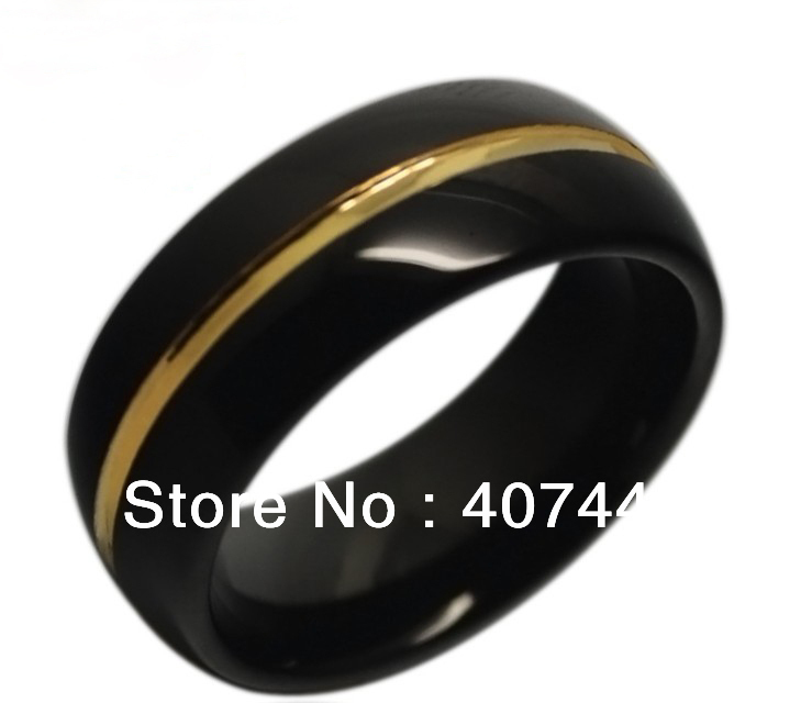 10pcs/Lot Wholesales Free Shipping USA Hot Selling 8MM Mens Black≠w Gold Two Tones Tungsten Ring Wedding Band US Sizes 7-13 недорго, оригинальная цена