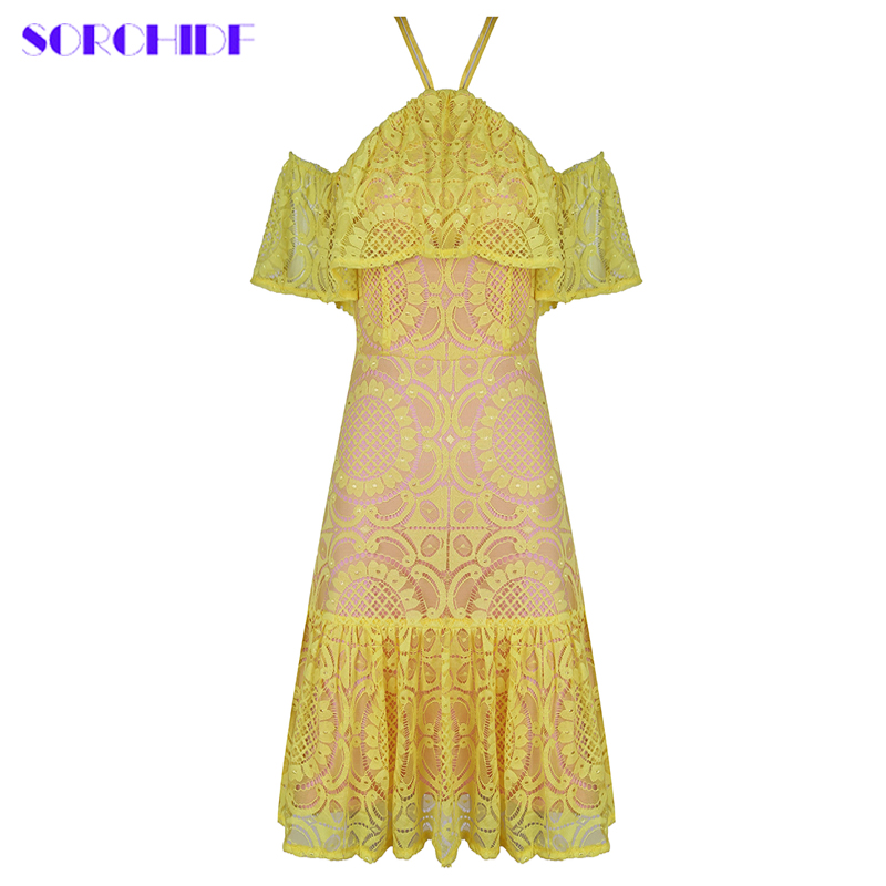 SORCHIDF New Fashion Winter Mini Dresses Chic Sexy Yellow Lace Hollow Out Woman Dress Celebrity Cocktail Party Dress Vestidos
