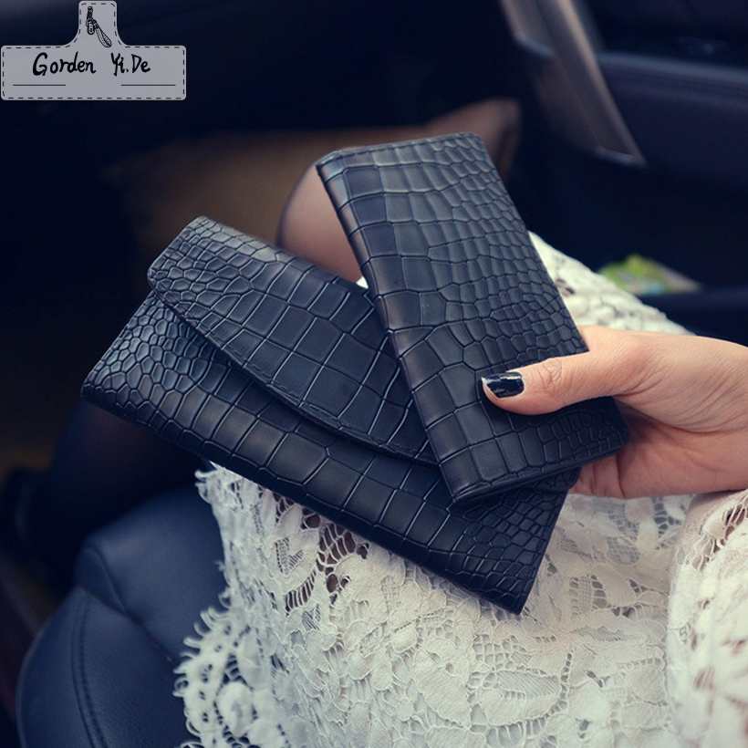 Three fold wallet Female 2018 Crocodile pattern Korean long section of women's wallet Leather Clutch Purse 6 - color bag