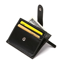 Soft Wallet PU Leather Mini Credit Cards Buckle Purses Clutch Card Holder Bag Unisex Simple ID Case Pouch