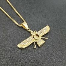 Hip Hop Rhinestone Paved Bling Iced Out Iran Faravahar Ahura Mazda Zoroastrian Pendant Necklace Gold Stainless Steel Men Jewelry