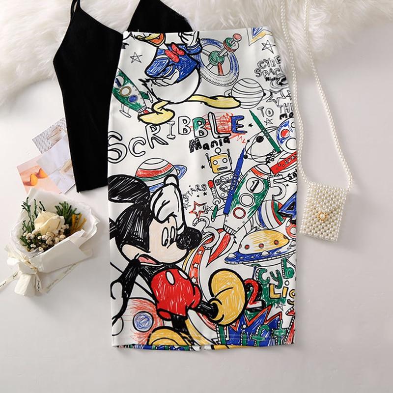 2020 Women Skirts High Waist Cartoon Print Skirt Casual Knee Length Skirts Women Harajuku Kwaii Stretchy Pencil Skirts Bodycon