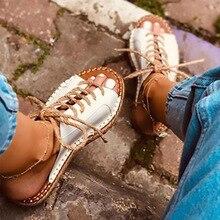 VTOTA yaz platformu terlik kadınlar Lace Up deri slaytlar sandalet ayakkabı açık plaj terlikleri açık ayak Flip flop kadın ayakkabı