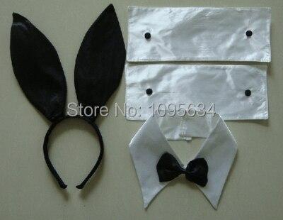 Free Shipping Bunny Ear Headband Set  Black  Fancy Dress Costume Hen Party Rabbit