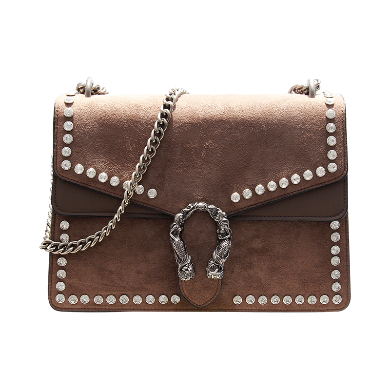 Fashion Rivet Chain Women Casual Shoulder Bag Messenger Bag Retro female Big Bag\Handbag Ladies' Flap Motorcycle bag~17B28 fashion rivet diamonds candy color pu leather female chain shoulder bag handbag purse ladies crossbody mini messenger bag flap