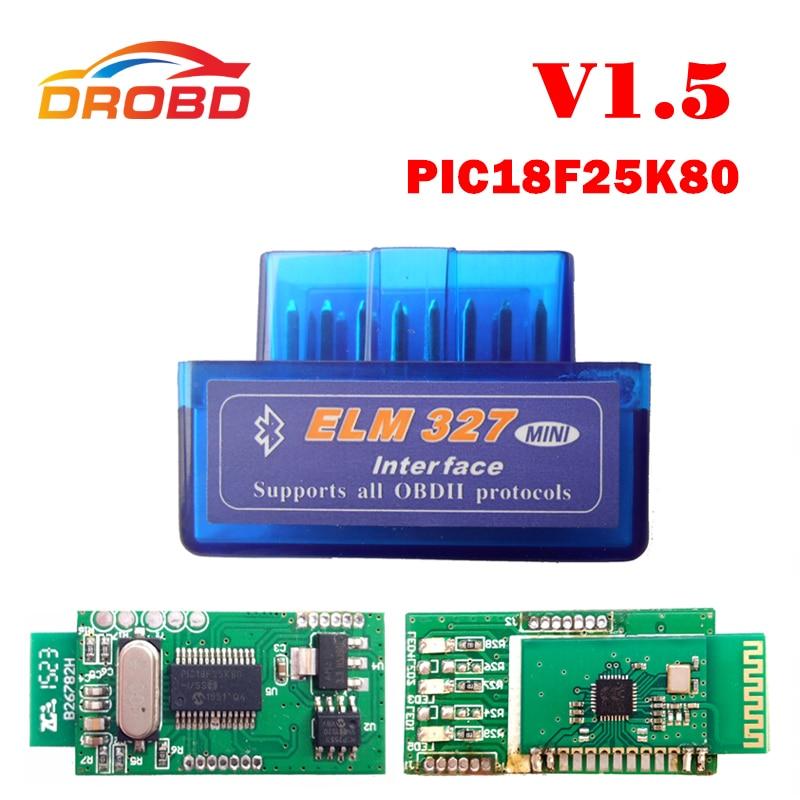 Prix pour V1.5 Super MINI ELM327 Bluetooth ELM 327 Version 1.5 Avec PIC18F25K80 Puce OBD2/OBDII pour Android Couple Voiture Code Scanner