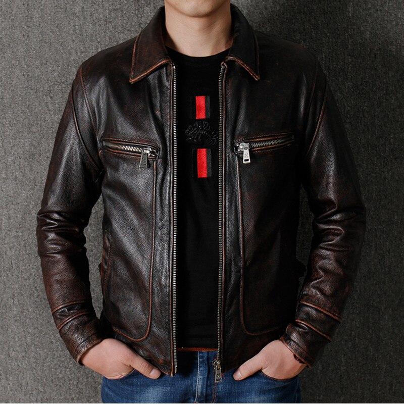 Real Model Bike Mens Cow Leather Jacket Windbreaker Automotive Genuine Leather Jacket Vintage Retro Overcoat Men Streetwear A788(China)