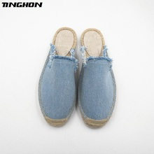 TINGHON Fashion Women Ladies Espadrille Shoes Canvas White Fringe Tassel Hemps Fisherman Flats