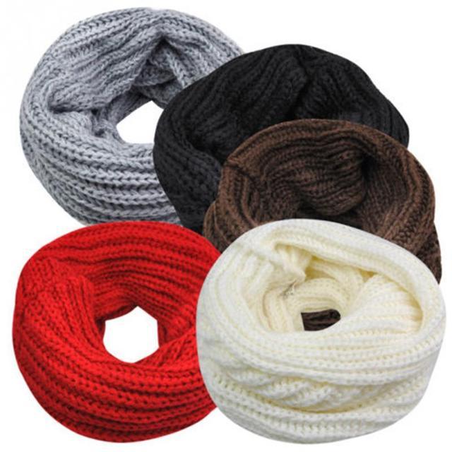 Новая мода унисекс зима теплая вязание круга хомут вязаный крючком снуд труба шеи петли женщин теплым шарфом мужчины шаль одно кольцо шарф