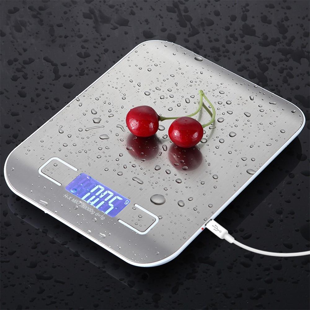 ميزان مطبخ USB رقمي من الفولاذ المقاوم للصدأ 10 كجم/5 كجم مقياس إلكتروني دقيق للطعام البريدي لأدوات قياس الطبخ والخبز