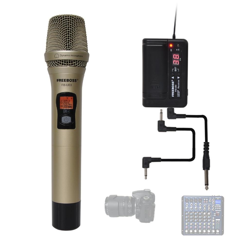 FREEBOSS FB U03 2M 1 Way 100 canal de Metal transmisor de mano MICRÓFONO INALÁMBRICO Cámara micrófono fiesta Karaoke micrófono-in micrófonos from Productos electrónicos    1