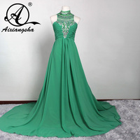 Sexy Scoop A Line Prom Dress 2016 Beading Crystal Backless Sweep Train Mint Green Chiffon Evening