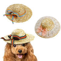Pet Dog Cat Sunhat Cap Farmer Hat Straw Braid Straw Plaited Article With Flower Ribbon Adjustable