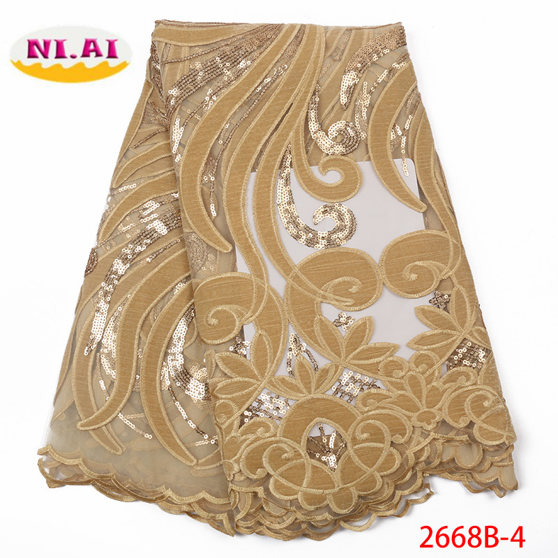 Gold Nigerian Velvet Lace Fabric French Tulle Lace Fabric 2019 High Quality African Lace Wedding Fabric