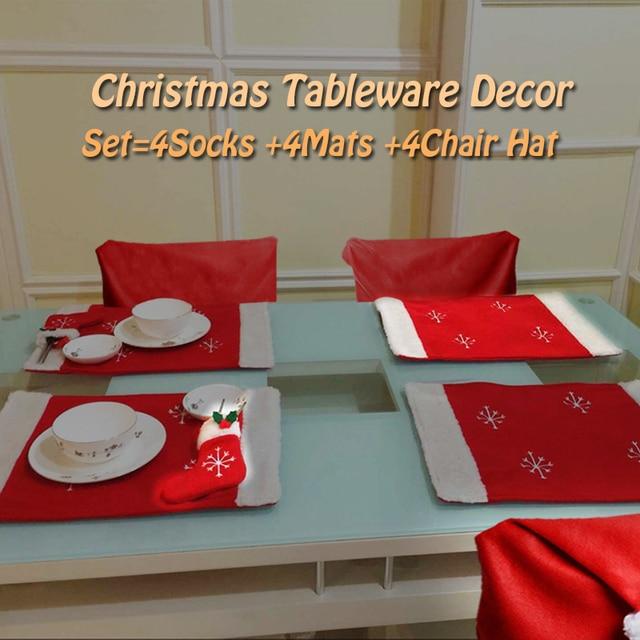 12 Teile/los Weihnachtsmann Geschirr Socken Matten Hut Esszimmer Stuhl  Sitzbezug Mantel Weihnachten Home Hotel