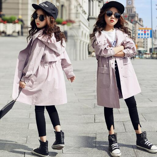 2018 Spring Girls Jacket Kids Clothing Girl Fashion Trench Coat Teenager Girl Hooded Coat Long Jackets 4 6 8 10 12 Y new men s military style casual fashion canvas outdoor camping travel hooded trench coat outerwear mens army parka long jackets