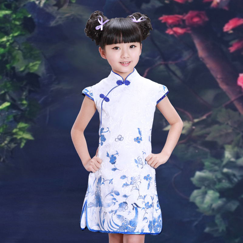 Child cheongsam summer female child chinese style tang suit princess dress little girl spring slim costume - The Best Wishes To You store