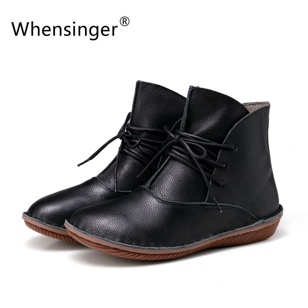 Whensinger - Genuine Leather Short Plush Boots Women Winter Shoes Fashion Round Toe Hand Sewing Rubber Sole 5068