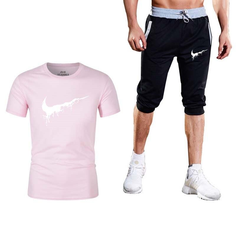 909d5a189 2019 marca verano hombres Conjunto 2 piezas traje deportivo manga corta  Camiseta + Pantalones cortos ...