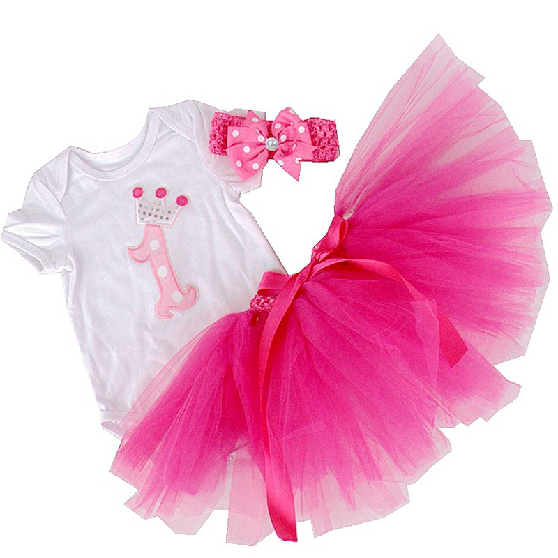 Crown Baby 1st Birthday Tutu Outfits Pink Girl Romper Skirt Headband Set Children Girls 3 Piece Newborn Sets