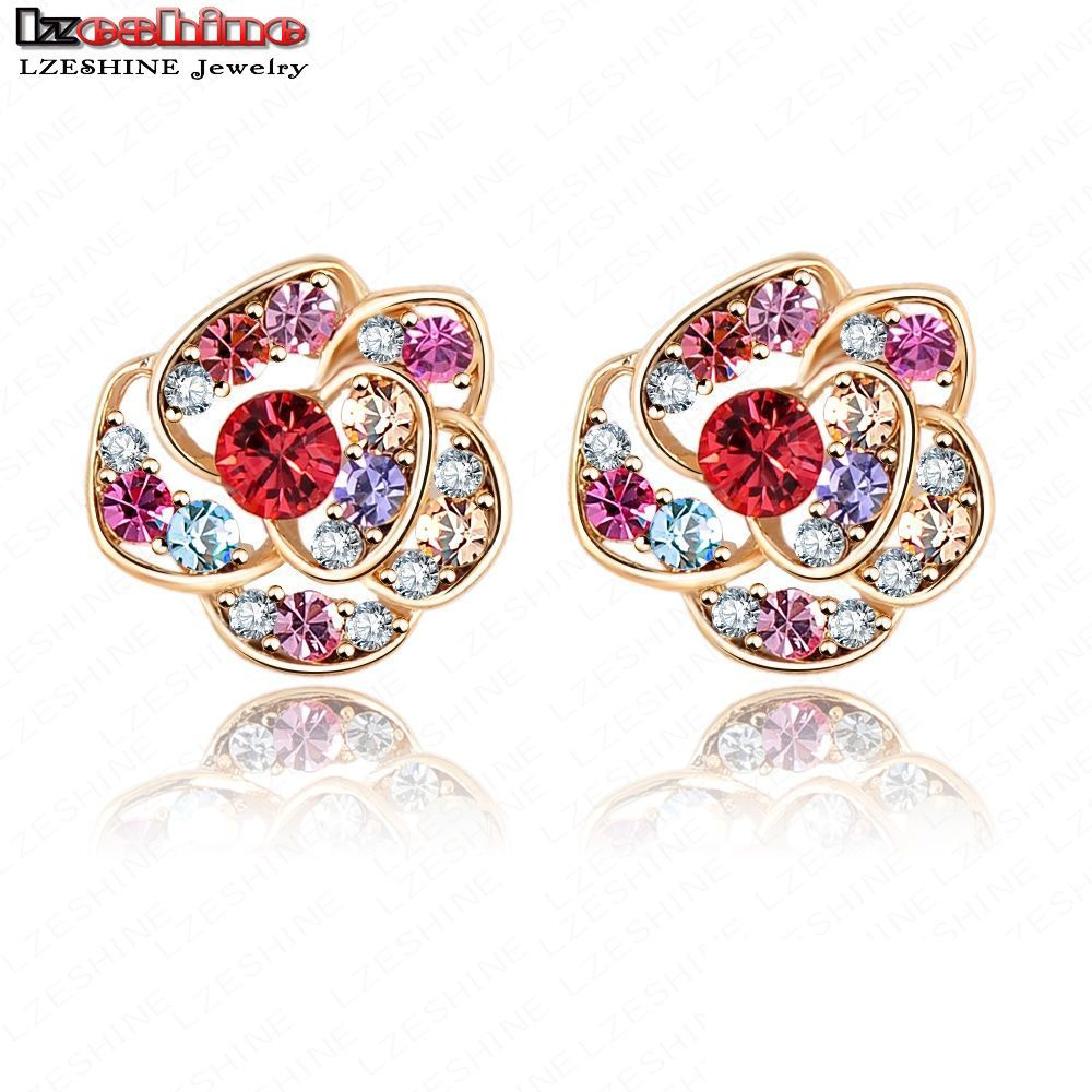 Lzeshine Studs Earring For Women Gold Plated Multicolor Genuine Swa Element  Austrian Crystal Ear Cartilage Earring
