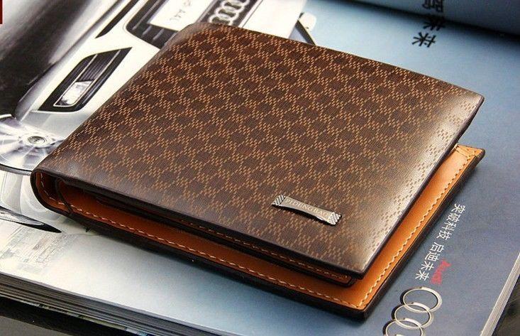 Novelty Designed Stylish Men's PU Leather Wallet Pocket Card Clips Bifold Purse Plaid Money - Jie Zhou store