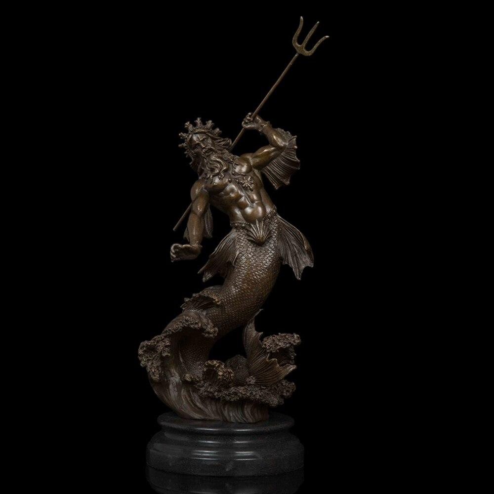 ATLIE Handgjorda rena brons Poseidonstatyetter Figur Västgrekisk - Heminredning